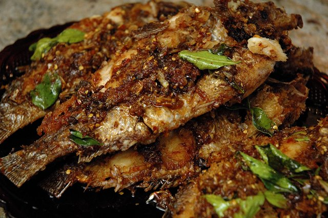 ... tilapia with a sweet, garlicky, spicy sauce. Better than what you can
