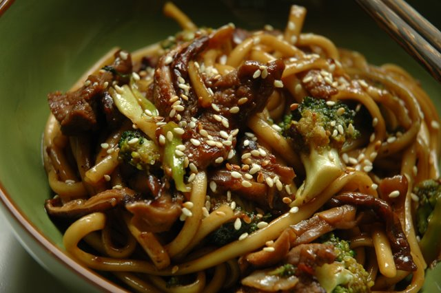 Blazing Hot Wok Pan Fried Udon Noodles With Beef Broccoli And Shiitakes